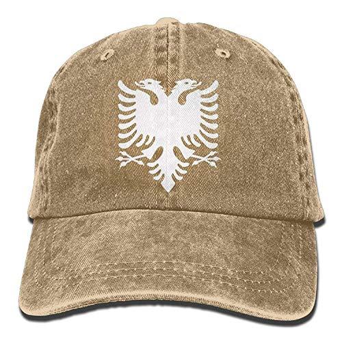 Yutirewer Albanian Eagle Vintage Washed Dyed Cotton Adjustable Baseball Cap Low Profile -
