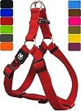 DDOXX Hundegeschirr Step-In Premium Nylon | für große, mittelgroße, mittlere & Kleine Hunde | Geschirr Hund | Katze | Brustgeschirr | Softgeschirr | Zubehör | Rot, S - 1,5 x 45-63 cm