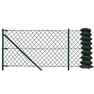 [pro.tec] Maschendrahtzaun Komplettset grün verzinkt (1m x 25m) Schweißgitter Volierendraht Zaun