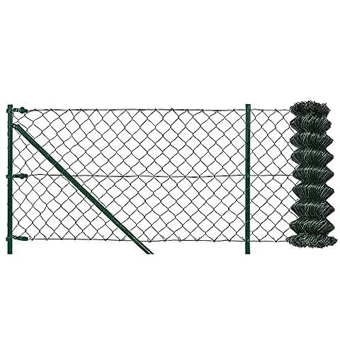 [pro.tec] Set complet pour clôture incl. chevilles- kit complète- vert zingué[1,5m x 25m]