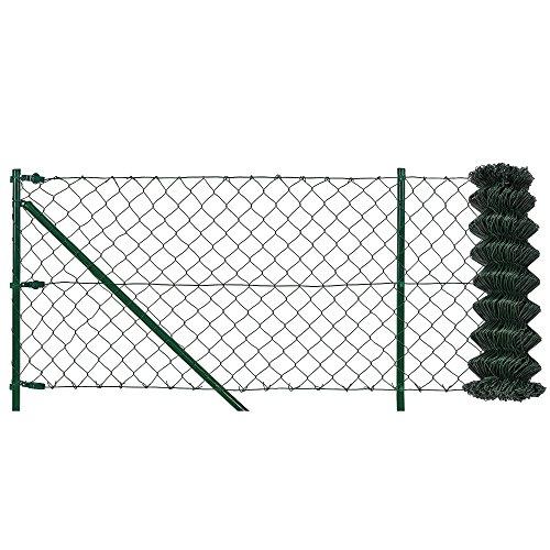 pro.tec] Maschendrahtzaun Komplettset grün verzinkt (1,5m x 25m) Schweißgitter Volierendraht Zaun