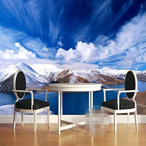 Fototapete 3D Effekt Benutzerdefinierte 3D Fototapete Snowy Alpine Lake Sky Wohnzimmer Schlafzimmer Restaurant Wandmalerei Dekor Wandbild Tapete De Parede 3D 200X140 Cm
