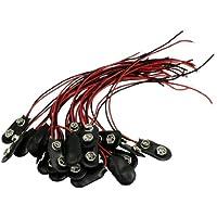 SourcingMap imitación de cuero T Tipo 9V Conector Clip (Paquete de 20) - Negro