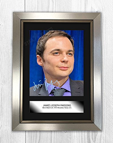Engravia Digital Jim Parsons Poster Signed Mounted Autograph Reproduction Photo A4 Print (Silver Frame)