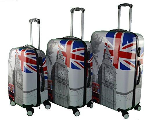 3 tlg. Kofferset Hartschale 4 Rollen 'Union Jack' Carbon inkl. Kofferschutz für die Größen L&XL