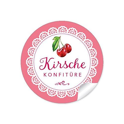 24 STICKER: 24 Schöne Marmeladenetiketten für die Küche in Rosa mit illustrierten Kirschen