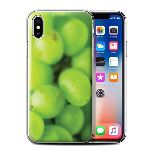 Stuff4 Gel TPU Hülle / Case für Apple iPhone X/10 / Orange Muster / Obst Kollektion Trauben