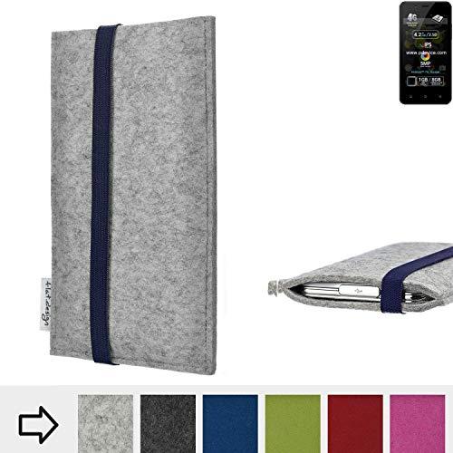 flat.design Handy Hülle Coimbra für Allview P4 Pro - Schutz Case Tasche Filz Made in Germany hellgrau blau