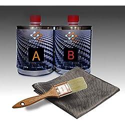 Kit de réparation en résine + fibre de carbone 1 m x 1 m pour réparation rapide, simple et durable