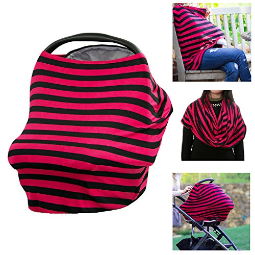BTSKY Multi-Use Flexible Unisex Classic Design Striped Nursing Breastfeeding Cover / Baby Car Seat Cover Canopy / Stroller Shopping Cart Cover Scarf (Black+Red)
