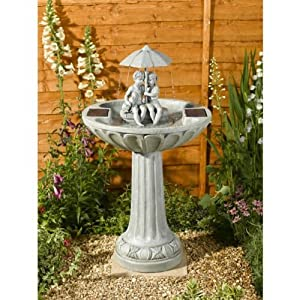 Small Solar Powered Water Feature Grey Resin Birdbath Water Fountain Children and Dog Sheltering under Umbrella PC201