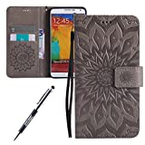 Custodia Galaxy Note3, Cover Galaxy Note3, Per Samsung Galaxy Note 3 Custodia Pelle, JAWSEU Libro Disegno PU Leather Wallet [Shock-Absorption] Pelle Portafoglio Custodia per Samsung Galaxy Note 3 Cover Goffratura Arts Fiore Modello con Super Sottile Silicone Case e Porta carte di credito e Supporto di Stand Chiusura Magnetica Protettiva Custodia Cover per Samsung Galaxy Note3 Note 3, Galaxy Note3 Custodia Portafoglio - Grigio