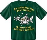 Geburtstag Party Fun T-Shirt fuer Angler bedruckt / Schlechter Tag beim Fischen ! , gruen,  XL