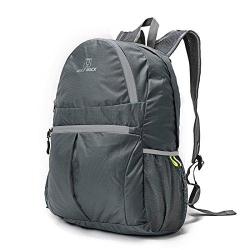TBB-Doppio zaino borse tracolla pieghevole e impermeabile esterno portatile pacchetto di viaggio,grigio 25L grey 25L