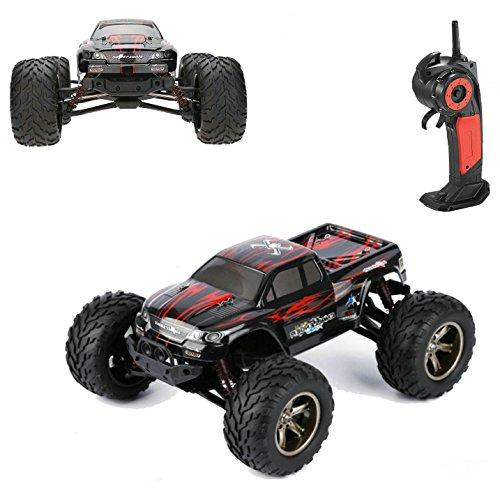 Ferngesteuertes Auto, VANGOLD 1:12 RC Monstertruck Elektronischer Rennbuggy mit Einer Höchstgeschwindigkeit von 42km/h, 2.4GHz 2WD Offroad Funkgesteuertes Fahrzeug für drinnen und draußen Rot