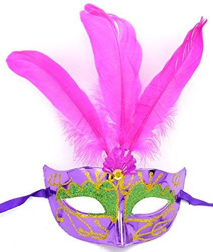 Damen Feder Maske mit lila Federn venezianische Karneval Gesichts Maske