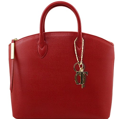 Tuscany Leather - TL KeyLuck - Borsa shopper in pelle Saffiano - TL141261/4 Rosso