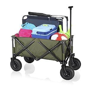 Campart Travel HC-0915 Chariot de transport vert pliable Roues Pneumatiques, capacité 70 kg