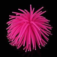 Coral Plástico Artificial Decoración para Acuario Pecera Peces Rosa Oscura