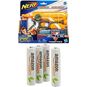 NERF N-Strike Elite Firestrike Blaster with AmazonBasics AAA Pre-Charged Rechargeable Batteries