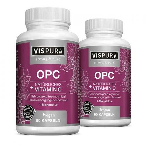 OPC Traubenkernextrakt, 90 Kapseln zertifiziert + Vitamin C aus Camu-Camu VEGAN