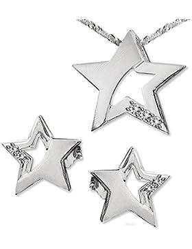 CLEVER SCHMUCK-SET Silberne Ohrstecker Stern 9 mm matt und glänzend, teils offen mit Zirkonias, passender Anhänger...