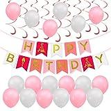 PBPBOX Geburtstagsdeko M�dchen Kinder Geburtstag Party Deko, 1 Geburtstag Girlande, 30 Luftballons mit 1 ballonpumpe und 20M pink Band, 12 pink Spirale Girlanden, auch f�r romantisch Party Hochzeit / Weihnachten. Bild