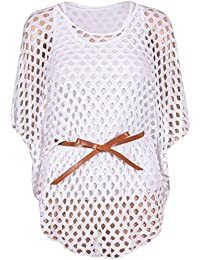 New Ladies Plus Size Tie Belted Crochet Batwing Tops Mesh Jumper Tops 12-26