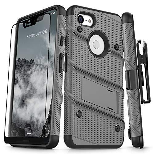 Zizo Bolt Series Schutzhülle für Google Pixel 3 XL (Militärqualität, Tropfengetestet) Vollglas-Displayschutz mit Ständer, Gun Metal Gray/Black