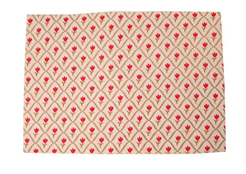 Campagne Table Linen Set de table Motif tulipe Rouge