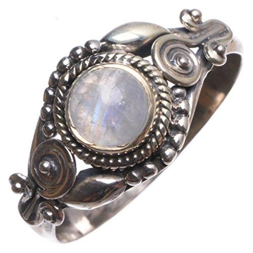 stargems (TM) natürlichen Regenbogen Mondstein indischen handgefertigt 925Sterling Silber Ring, UK Größe R (Tiara Regenbogen)