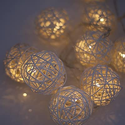Wicker Ball LED String Fairy Lights (Warm White LEDs) with Timer. Battery Powered. Decorative lighting. Ideal for bedroom lights