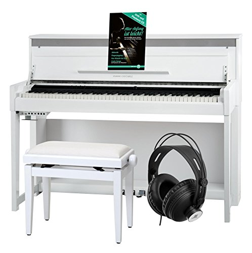 Classic Cantabile UP-1 WM E-Piano Deluxe Set (inklusive Pianobank, Kopfhörer und Klavierschule, Dämpfersimulation, MP3-Recorder, Mic In, OLED Display, 40 hochwertige Sounds, 3 Pedale) weiß matt