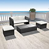 Sofa-Garten mit Kaffeetisch 'und zwei Hocker aus Polyrattan schwarz