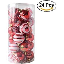 OULII Palline per albero di natale Sfere rossa per la decorazione di Natale con fili da appendere con diametro di 5cm (24pcs)