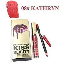Kiss Beauty Women's 24K Golden Matte Liquid Lipstick and Lip Liner (Kathryn, 7782-08)