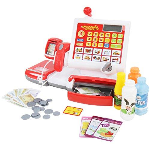 Infantastic Spielzeugkasse mit Scanner, 4 farbigen Flaschen und Schlüssel zum Wegschließen der Einnahmen