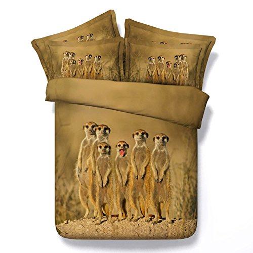 JF-023 Tencel 3D meerkats imprimir conjuntos de ropa de cama tamaño king África paisaje cobertores de cama doble de tamaño queen reviste una sola hoja