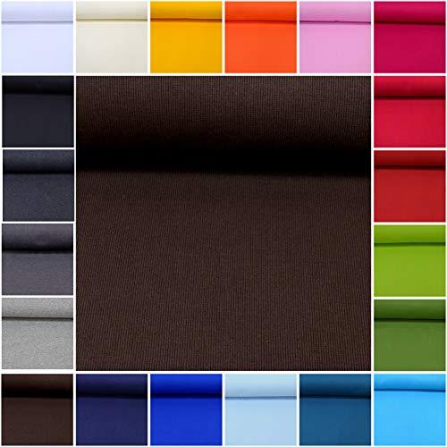 (MAGAM-Stoffe ''Laura'' Bündchen-Stoff Uni | 20 Farben | sehr Hochwertiges Rippen-Bündchen Öko-Tex Qualität | Meterware ab 50cm (16. Dunkelbraun))