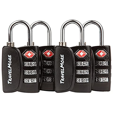 TSA Luggage Padlocks - Cable Combination Travel Locks With Search Alert For Suitcase & Backpack - 4 Pack of Padlocks (Black)