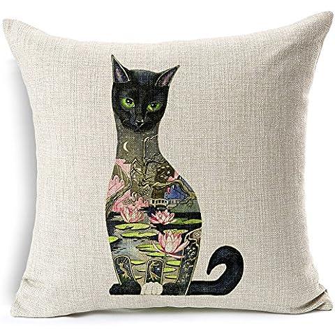 Algodón de lino mezclado HomeChoice 45,72 cm x 45,72 cm pintura precioso gato negro Backgroud loto de hojas y flores en casa decorativa cuadrada cubierta funda de almohada cojín