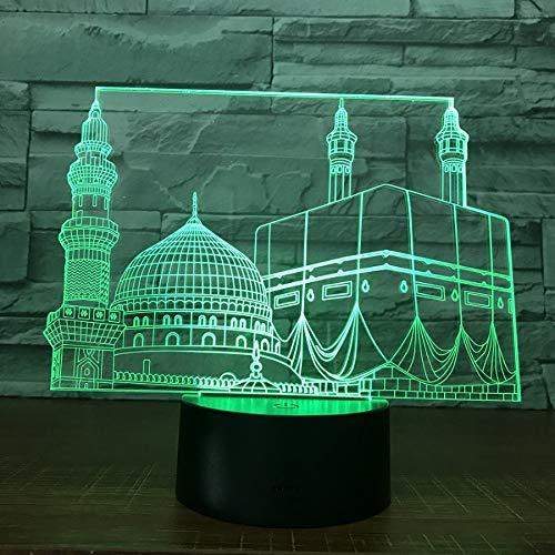3D Led Nachtlicht Lampe Tempel Schloss Palast Touch Sensor Schlafzimmer Büro Dekor Moschee Nachtlicht Für Muslim Ramadan Geschenk 3D Nachtlicht