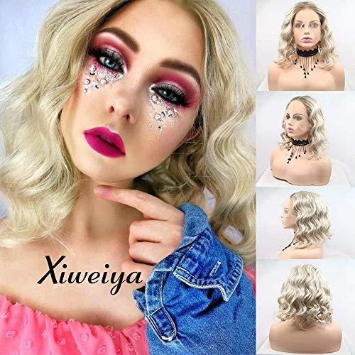 xiweiya kurz gelockt Hair blond Lace Front Lace Perücken Blond Kunsthaar Kurz Wellig Hitzebeständige Kunstfaser Perücken Mitte, kurz Blonde Perücke für Frauen 35,6cm