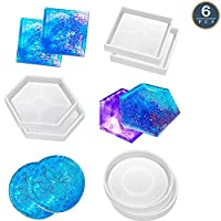 6 Pack Coaster Silicone Mold, DIY Resin Casting Molds for Resin Epoxy, Hexagon Square Round Mold for Cup Bowl Mat, Coaster, Home Decor