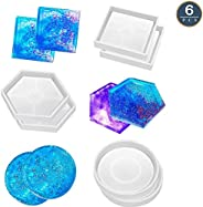 6 Pack Coaster Silicone Mold, DIY Resin Casting Molds for Resin Epoxy, Hexagon Square Round Mold for Cup Bowl