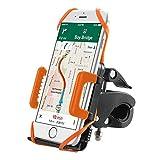 Supporto Bici Smartphone TaoTronics Porta Cellulare Bici, Supporto Manubrio Universale Bici Moto per Bicicletta Ciclismo, GPS e altri Dispositivi Elettronici (Pulsante di Rilascio Automatico, Rotabile a 360 gradi, 2 Cinturini in Gomma Black / Orange) - Orange immagine