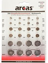 Arcas 12792400 AG Alkaline (CR Lithium Knopfzellenset, 24 pièces)