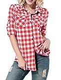 Yidarton Damen Langarmshirt Kariertes Hemd Slim Fit Freizeit Abgerundeter Saum Bluse Shirt Oberteil (Large, Rot-2)