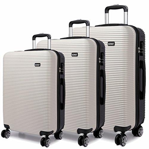 Kono Kofferset Trolley-Koffer Hartschale leicht Hartschale Set 3-teilig Hartschalenkoffer mit 4 Zwillingsrollen