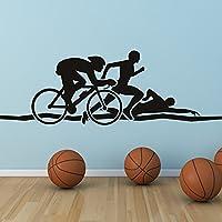 azutura Triatlón vinilos decorativo Ejecutar el ciclo de natación adhesivos pegatina pared Deportes de atletismo Decoración del hogar disponible en 5 tamaños y 25 colores X-Grande Negro